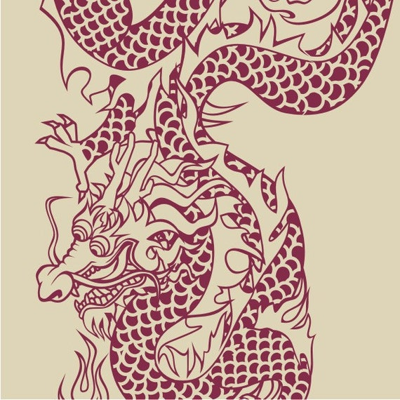 chinese dragon vinyl wall decal