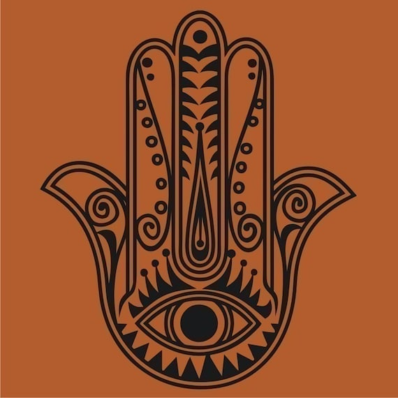 hamsa wall decal sticker, vinyl art, traditional art, evil eye art, yoga hamsa, FREE SHIPPING