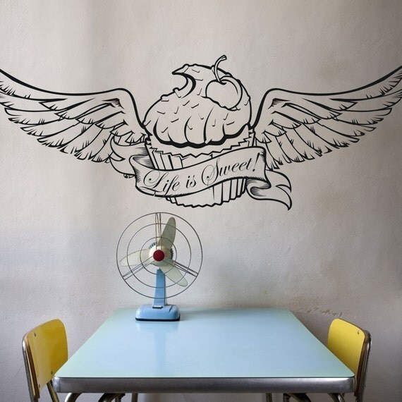 Cupcake wall decal with wings custom banner tattoo cupcake for Wall e tattoo