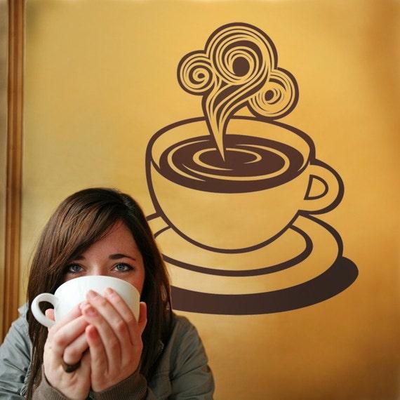 coffee cup vinyl wall decal, sticker art, mid century, diner art