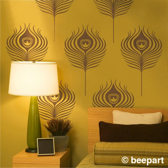 Peacock Feathers Wall Decals Art Deco Vinyl Wall Art Set
