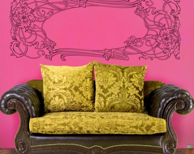 art nouveau wall decal, vinyl sticker art, floral design wall art