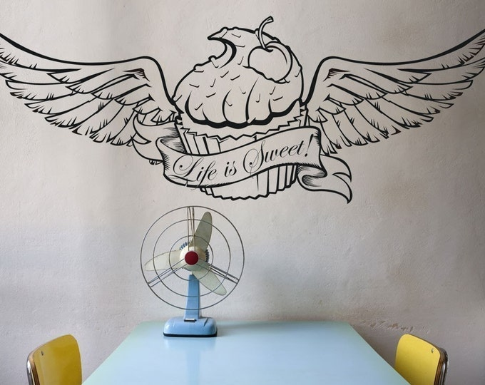 cupcake wall decal with wings, custom banner, tattoo cupcake, customize cupcake sticker art, FREE SHIPPING