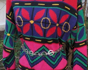 80s Mexican hip hop style ramie cotton sweater, day of dead, feliz navidad sweater knit top blouse, wear as top or knit mini party dress