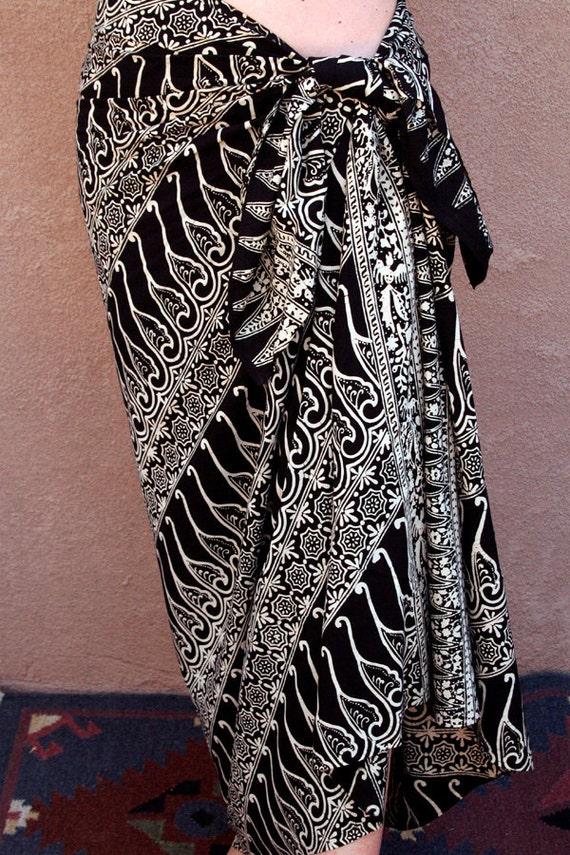 Black Chiffon Sarong - Pareo - Beach Sarong - Scarf - Women's Skirt - Handmade Batik Pareo - Pool Spa Wrap - Women's Clothing - Black Scarf