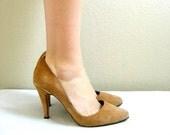 Vintage Suede Stiletto Heels 1980s Earthy Camel Brown
