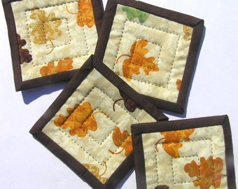 Autumn Leaves Quilted Fabric Coasters - Set of Four
