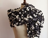 Black Grey and White Curly long scarf ,neckwarmer, cowl, necktie