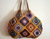 Mustard Crochet granny square bag