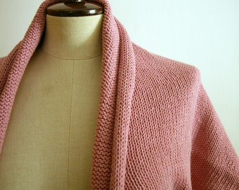 Pink Shrug-Bolero-Capelet, size -M/L---hand knitted