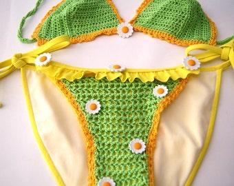 Bikini embellished with crochet  - size XS - OOAK