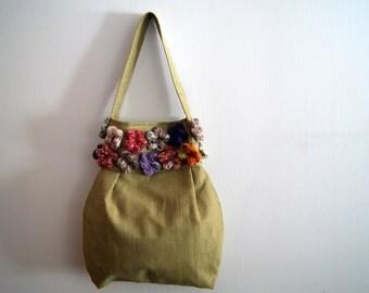 Verde con borsa borsa fiori