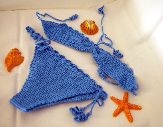 Baby girl crocheted light blue bikini