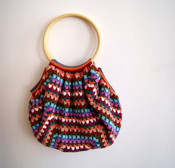 Crocheted bag multicolors granny square style