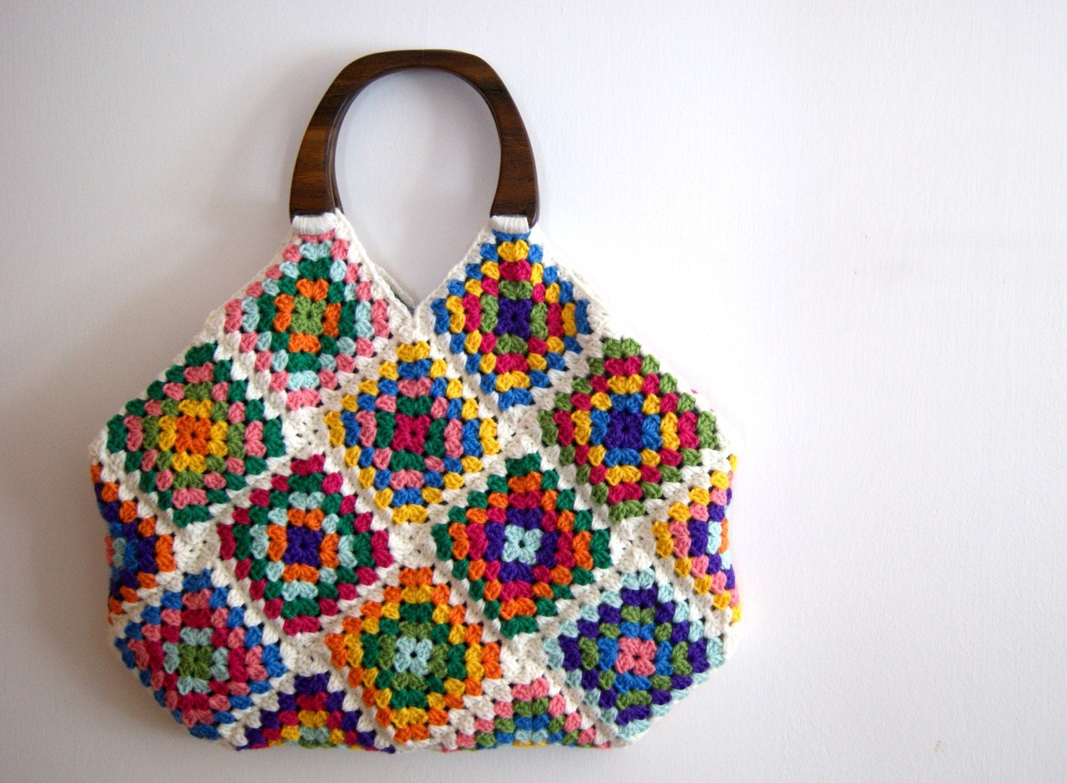 Reserved for tuffcookie Crochet granny square bag