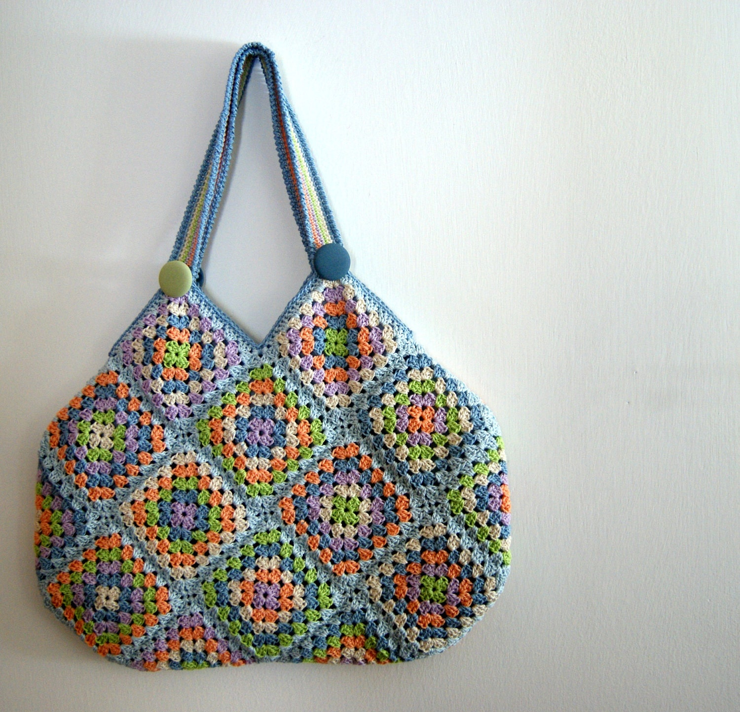 Crochet granny square bag by knittingcate on Etsy
