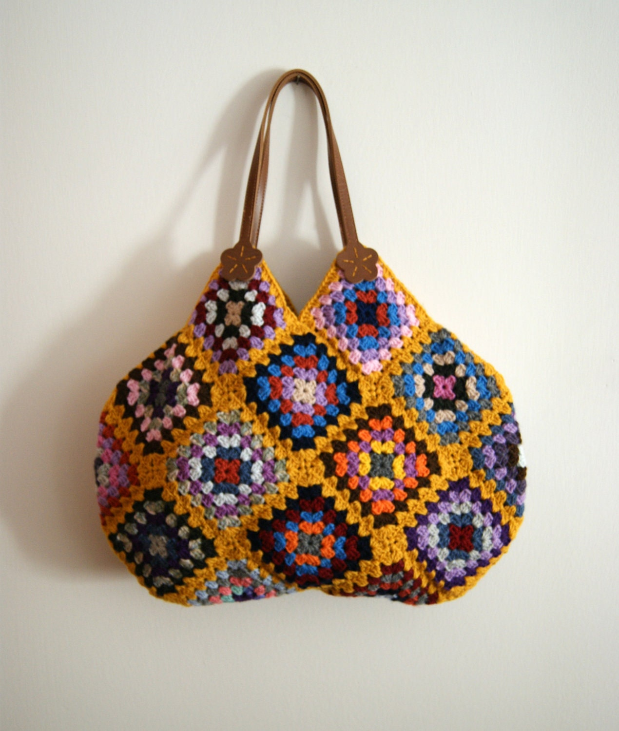 Mustard Crochet granny square bag by knittingcate on Etsy