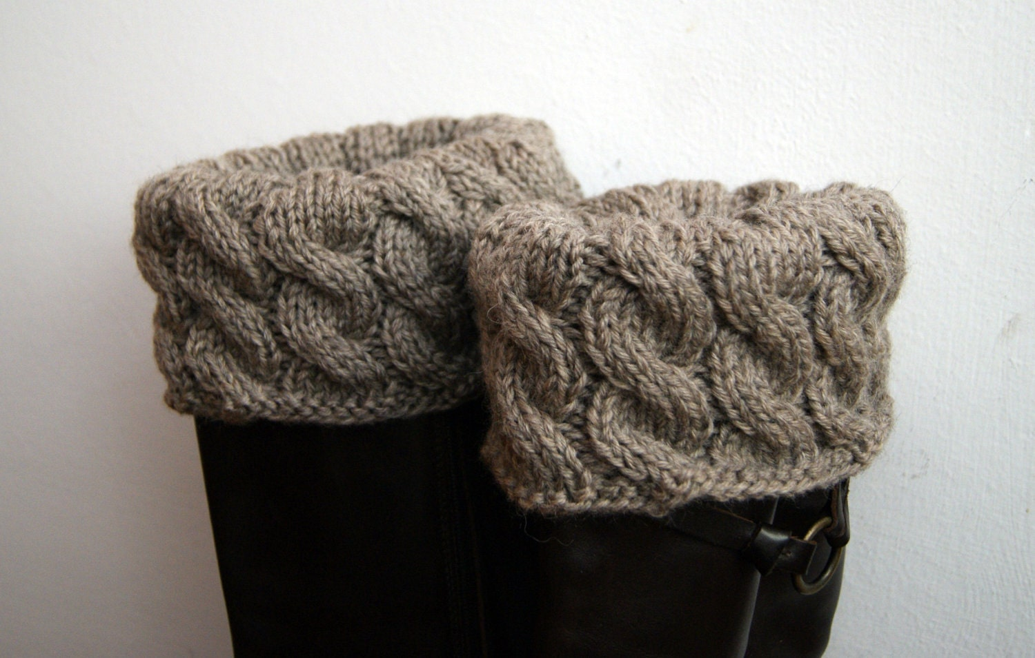 Knitting Patterns For Boot Toppers : boot toppers cuffs taupe cabled knitted