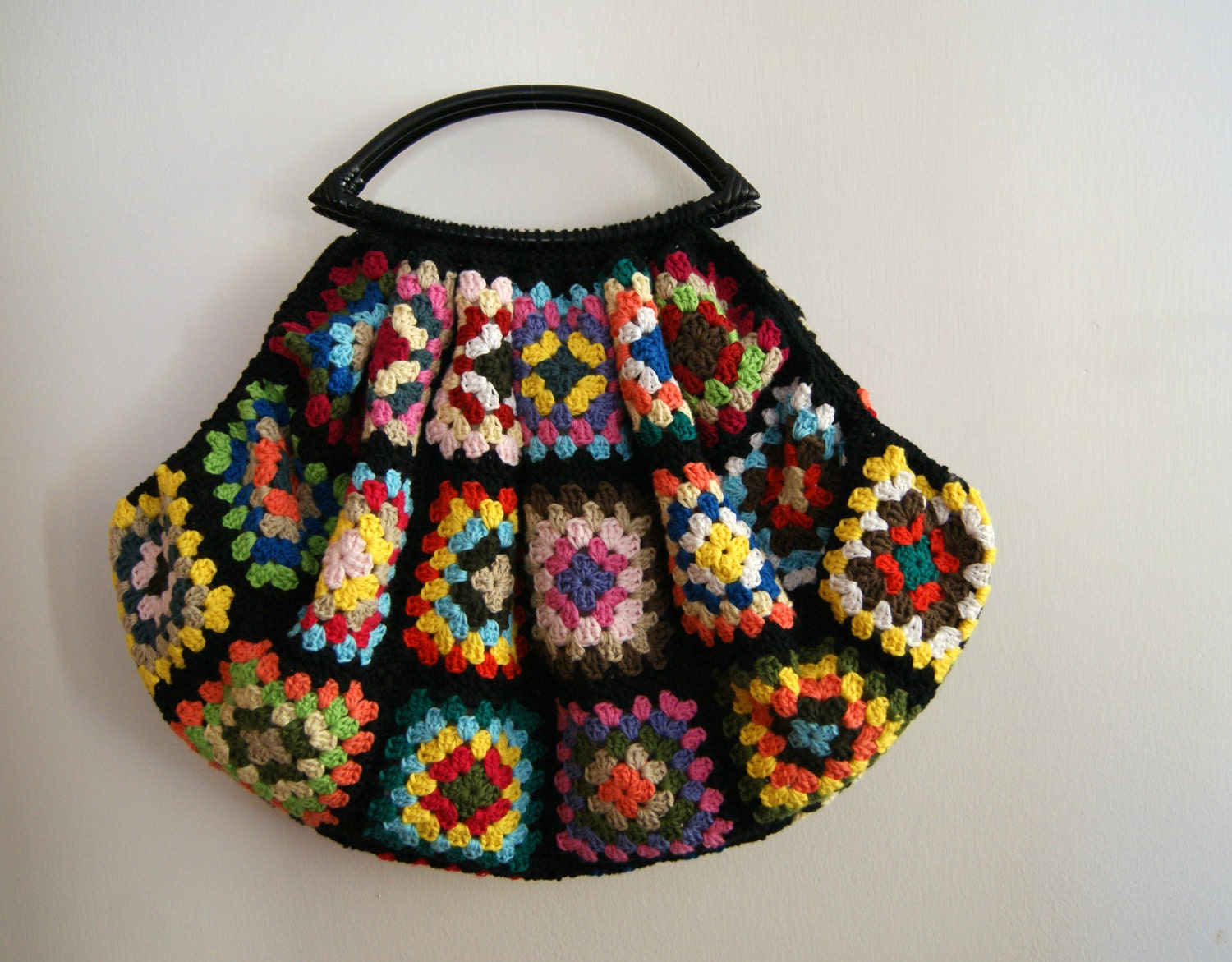 Black Crochet granny square bag by knittingcate on Etsy