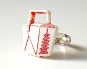 Chinese Takeout ring in a free capsule. 80s Geek, Retro, Fun, Him, Her, Nerd, Dork, Cool