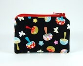 Colorful Mushrooms mini zipper pouch fun retro coin purse