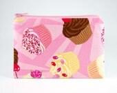 Pink Cupcakes medium zipper pouch fun kawaii coin purse