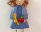 Ms. Smarty Pants: polymer clay pin, magnet or ornament