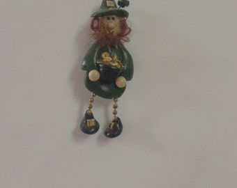 """Lucky McBrien: Polymer Clay leprachaun pin with metal buckles and sequin """"gold coins"""""""