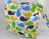 Wet Bag, Diaper Keeper,  Swimsuit bag  - Water Resistant Lining with Zipper Openning - Urban Zoologie Whales Blue/Green/White