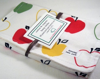Burp Cloth with Style - Cotton / Organic undyed French Terry Burp - Metro market Apple Multi
