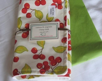 Burp Cloth with Style - Cotton/Organic French Terry - Retro Vintage Cherry