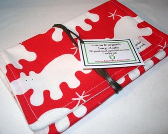 Burp Cloth with style - Cotton / Organic undyed French Terry - Red Hippo