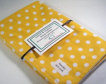 Burp Cloth  with style - Printed Cotton/Organic Undyed French Terry - Retro Yellow Polka Dot