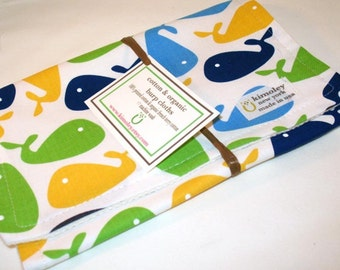 Burp Cloth  with style - Printed Cotton/Organic Undyed French Terry - Urban Zoologie Whales Lime/Blue/White