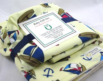 Simple Baby Gift Set - Blanket, Wet Bag -  Nautical