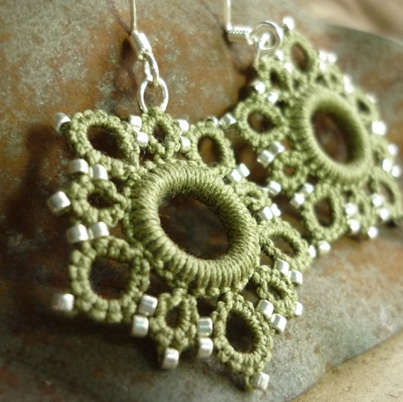 Five Star earrings in Olive Sage and Silver
