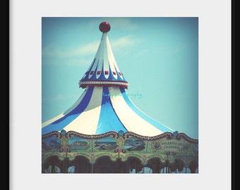 Atlantic City Carousel - Blue Carousel Great Fun Young At Heart Circus Fun merry go around great fun blue and white Fine Art Print 8x8