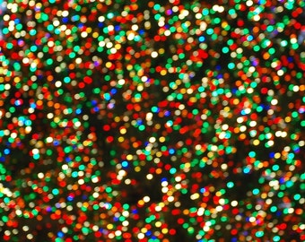 Christmas in NYC 4 - Bokeh of Rockefeller Center Christmas Tree Lights Sparkling lights NYC New Yorker Big Appl Fine Art Print 8x8