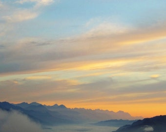 Morning lights - Sunrise  Morning Good morning Mountains Cloud sea Cloud ocean Orange clouds Fine Art Print16x16 Limited 1/50