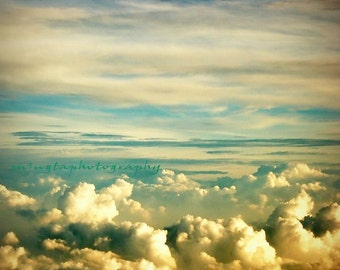 Cotton Candy - Cloudy Sky Cloudy clouds sea cloud cottons jet plane over the cloud on the flight Fine Art Print 8x8