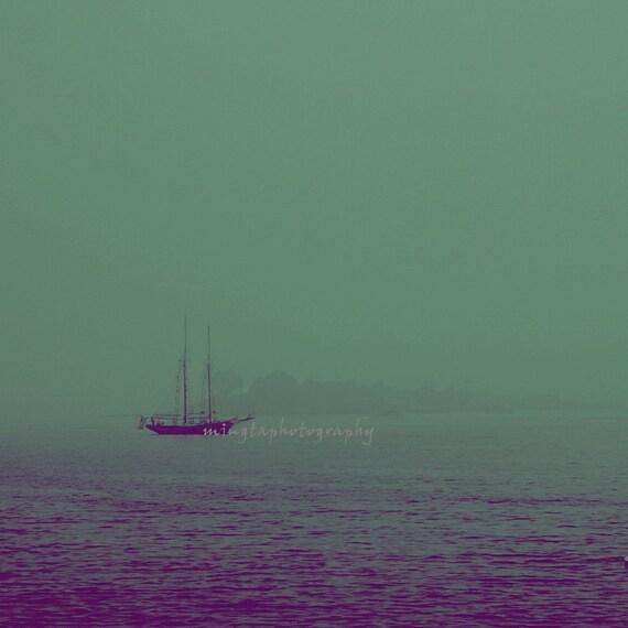 Misty - Misty in the ocean Romantic ocean Beach house Big sky and big ocean Blue teal ocean fogy sailin ocean photography