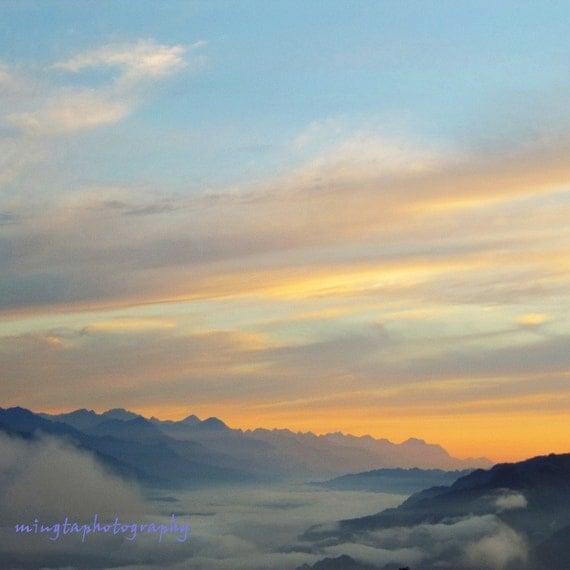 Morning lights - Sunrise  Morning Good morning Mountains Cloud sea Cloud ocean Orange clouds Fine Art Print16x16 Limited 1/50