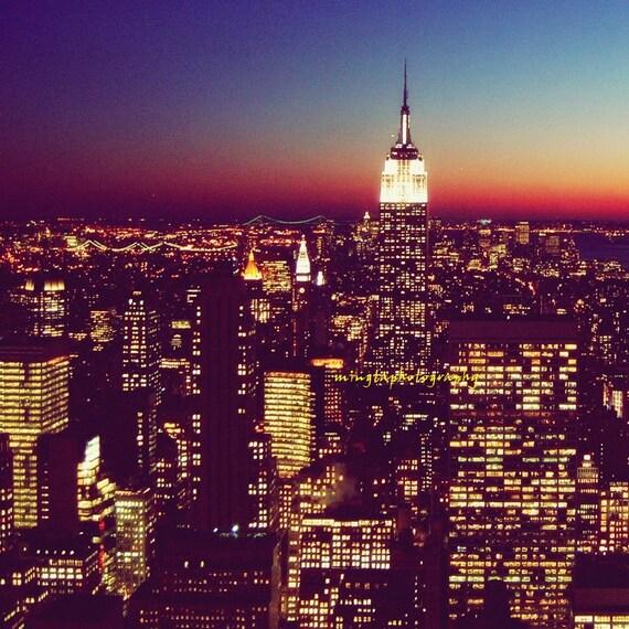 On The Rock - NYC Night Lights Skyline Empire State Building New York NY Big apple New Yorker dreamy the city Fine Art Print 12x12