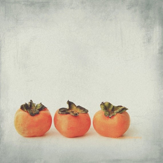 Persimmon 2 - Autumn Fruit, Exotic fruit, shizi, kaki, orange halloween, sweet autumn fall wall decor Fine Art Print 8x8