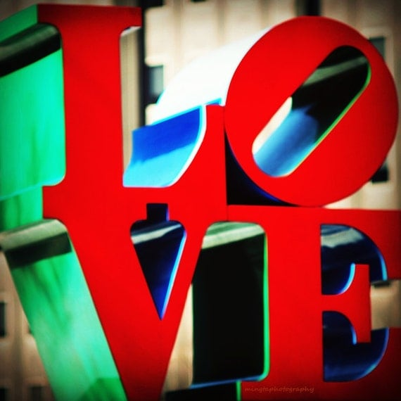 In Love We Trust - Valentine Day gift Love is in the air Wedding gift LOVE Park philadelphia all you need is love ruby red color photography