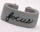Wrist Cuff - Hand Embroidered - Focus or custom word on looseleaf