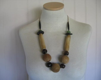 Chunky Bone, Wood, Horn, and Glass Necklace.