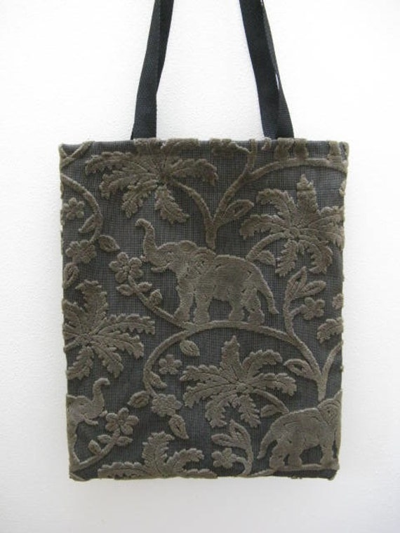 Large Black and Brown Elephant Tote Bag.