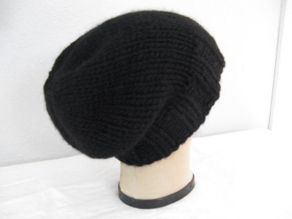 Chunky, Merino Wool and Cashmere, Hand Knit Hat in Black. Slouchy Beanie for Women or Men. Winter Accessories.