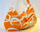 Hobo Bag Slouch Purse LULU Bag Amy Butler Fabric Graceful Vines Tangerine Orange White August Fields Fabric